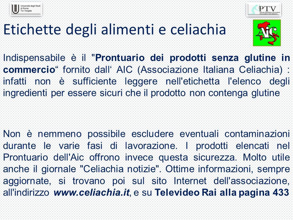 Etichette degli alimenti e celiachia
