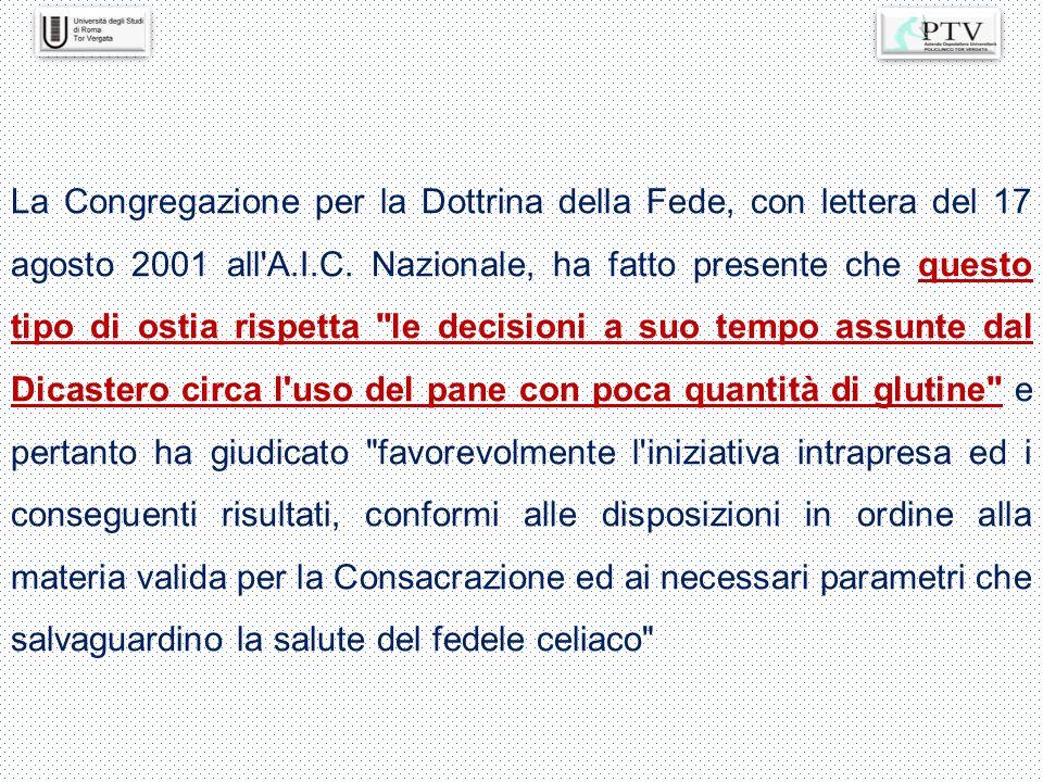 La Congregazione per la Dottrina della Fede, con lettera del 17 agosto 2001 all A.I.C.