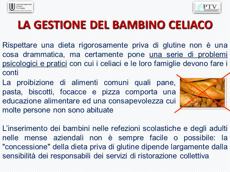 LA GESTIONE DEL BAMBINO CELIACO