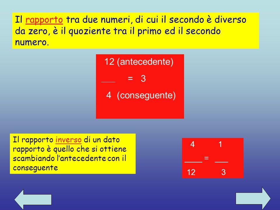 Il rapporto tra due numeri, di cui il secondo è diverso da zero, è il quoziente tra il primo ed il secondo numero.