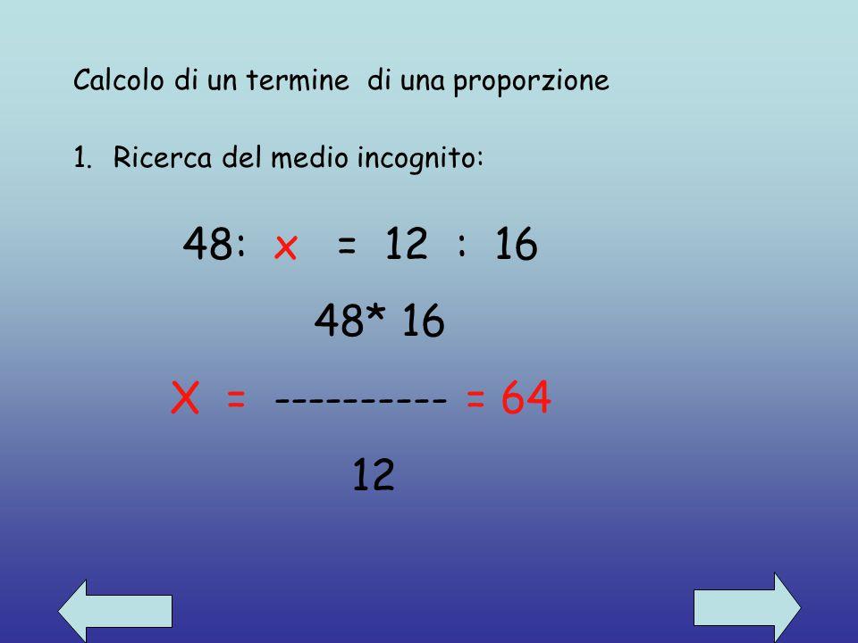 Calcolo di un termine di una proporzione
