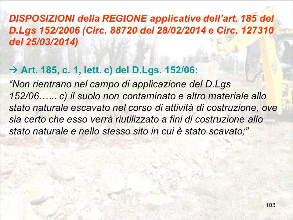 DISPOSIZIONI della REGIONE applicative dell'art. 185 del D