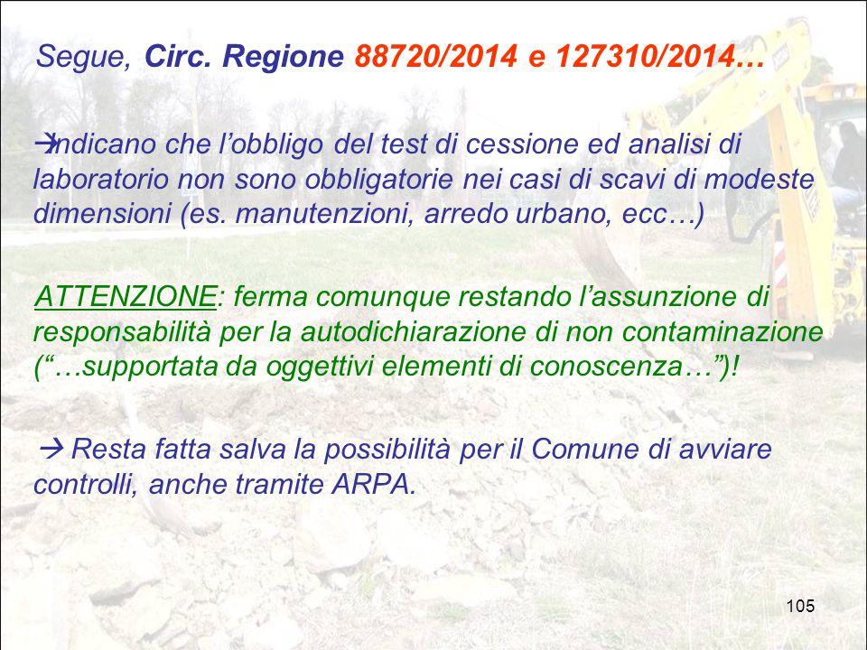 Segue, Circ. Regione 88720/2014 e 127310/2014…