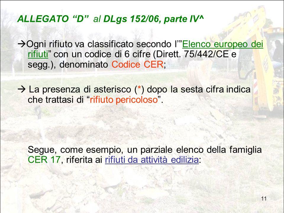 ALLEGATO D al DLgs 152/06, parte IV^