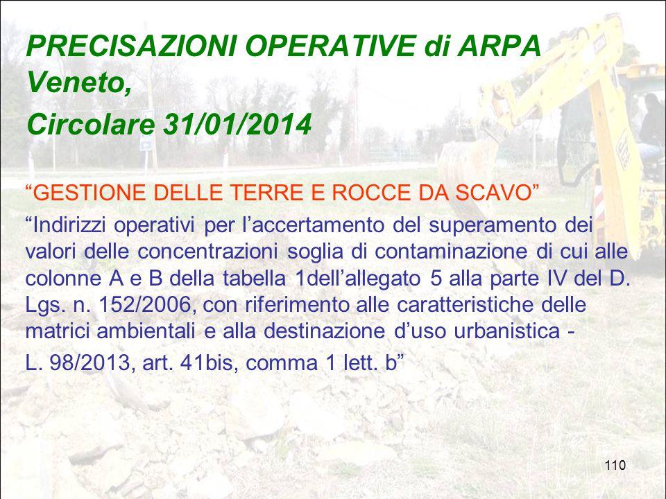 PRECISAZIONI OPERATIVE di ARPA Veneto, Circolare 31/01/2014