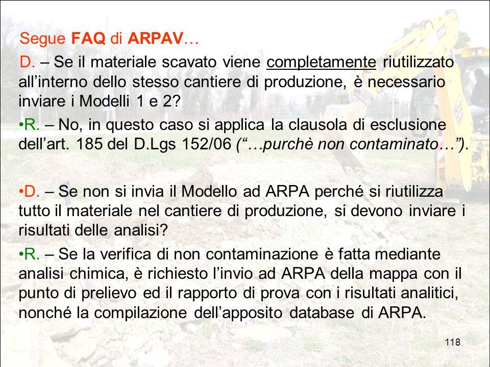 Segue FAQ di ARPAV…