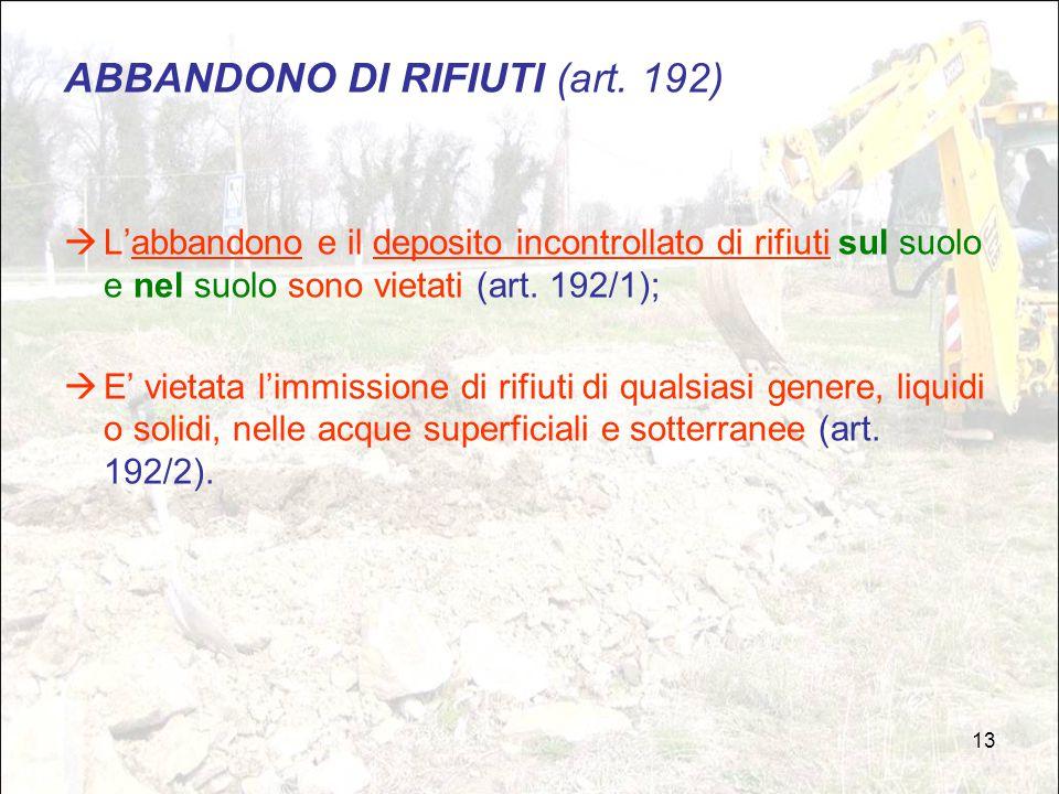 ABBANDONO DI RIFIUTI (art. 192)