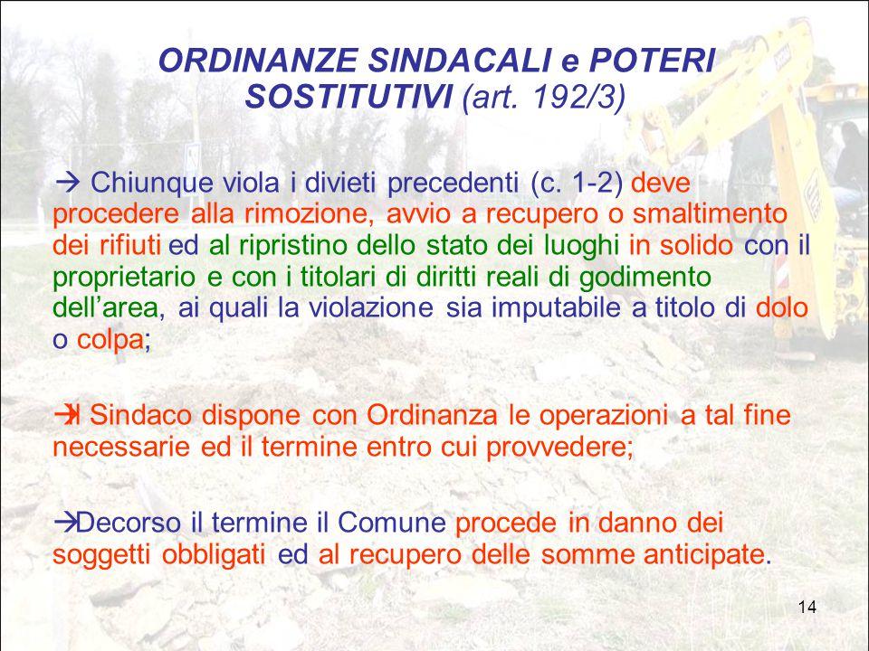 ORDINANZE SINDACALI e POTERI SOSTITUTIVI (art. 192/3)