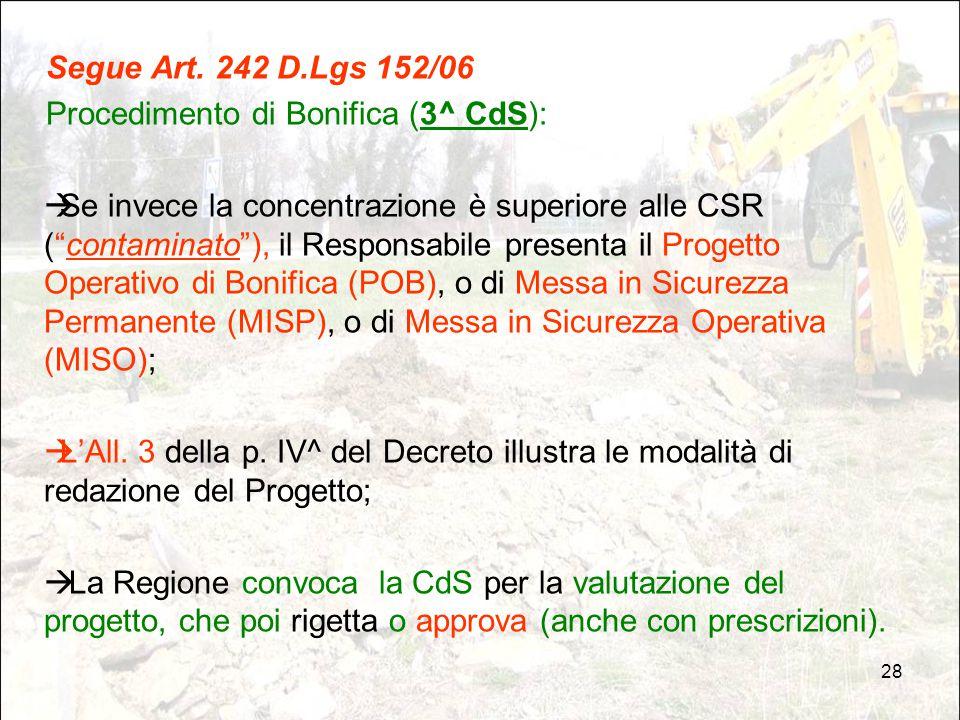 Segue Art. 242 D.Lgs 152/06 Procedimento di Bonifica (3^ CdS):