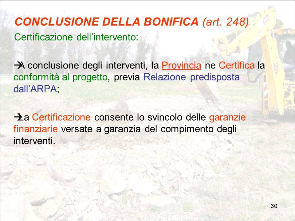 CONCLUSIONE DELLA BONIFICA (art. 248)