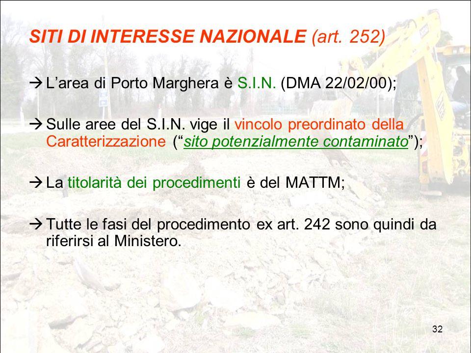 SITI DI INTERESSE NAZIONALE (art. 252)