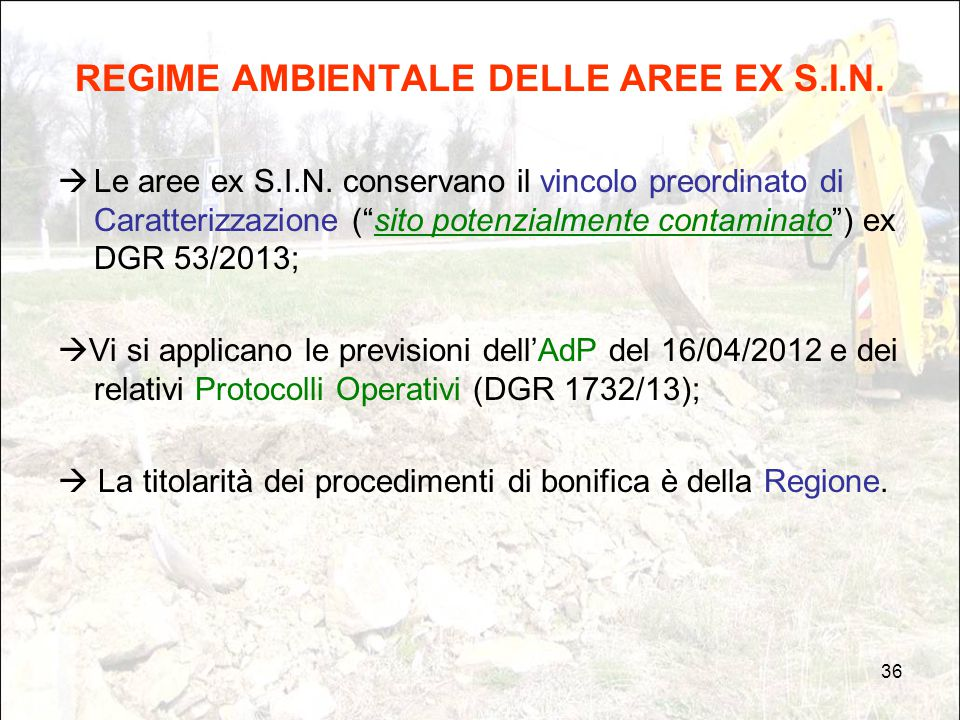 REGIME AMBIENTALE DELLE AREE EX S.I.N.