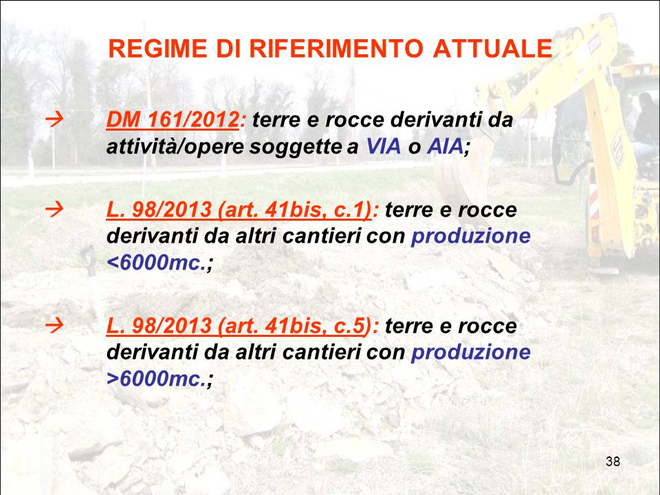 REGIME DI RIFERIMENTO ATTUALE