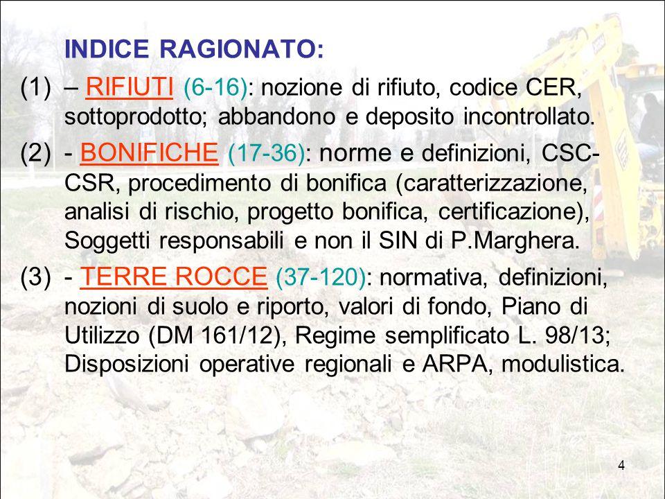 INDICE RAGIONATO: – RIFIUTI (6-16): nozione di rifiuto, codice CER, sottoprodotto; abbandono e deposito incontrollato.