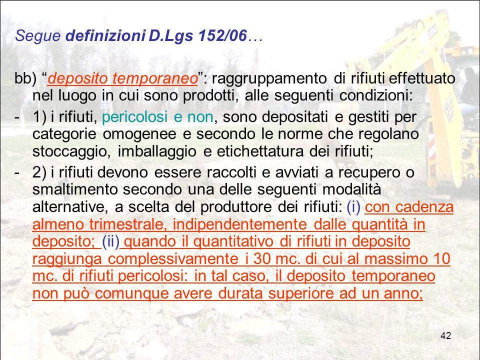 Segue definizioni D.Lgs 152/06…