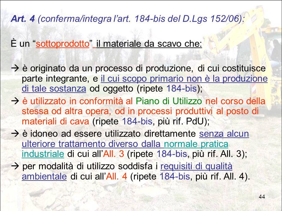 Art. 4 (conferma/integra l'art. 184-bis del D.Lgs 152/06):