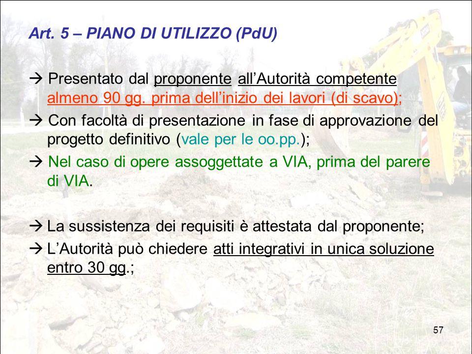 Art. 5 – PIANO DI UTILIZZO (PdU)