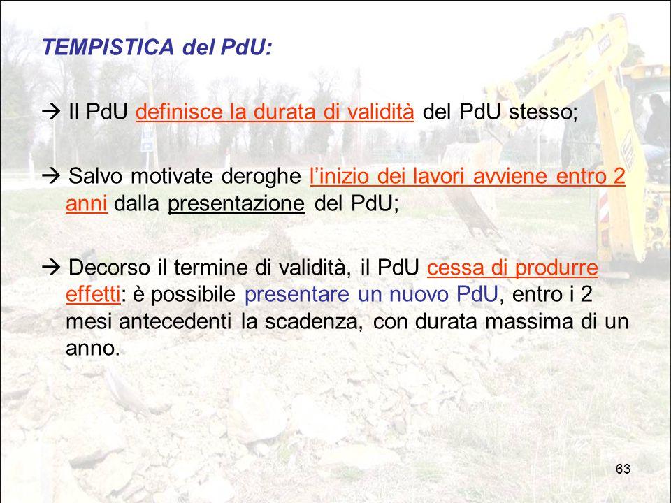 TEMPISTICA del PdU:  Il PdU definisce la durata di validità del PdU stesso;