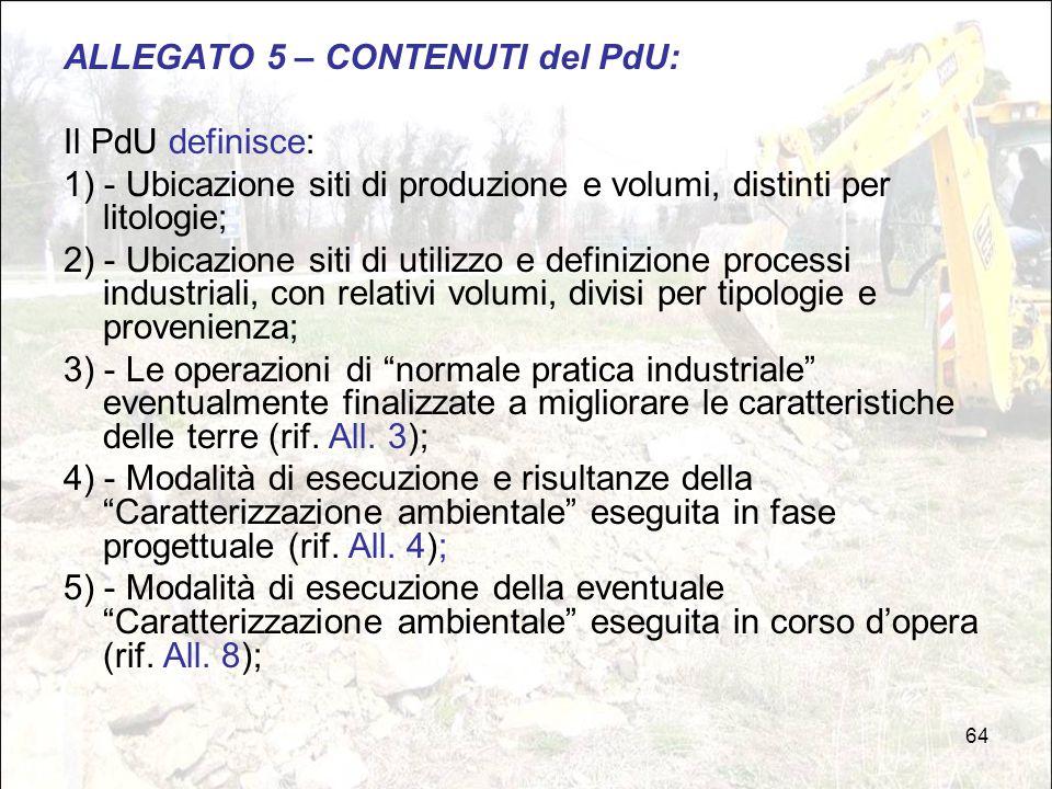 ALLEGATO 5 – CONTENUTI del PdU: