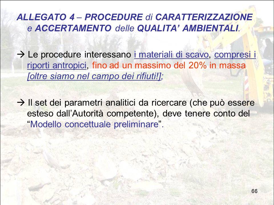 ALLEGATO 4 – PROCEDURE di CARATTERIZZAZIONE e ACCERTAMENTO delle QUALITA' AMBIENTALI.