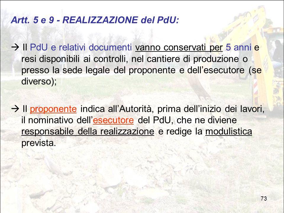 Artt. 5 e 9 - REALIZZAZIONE del PdU: