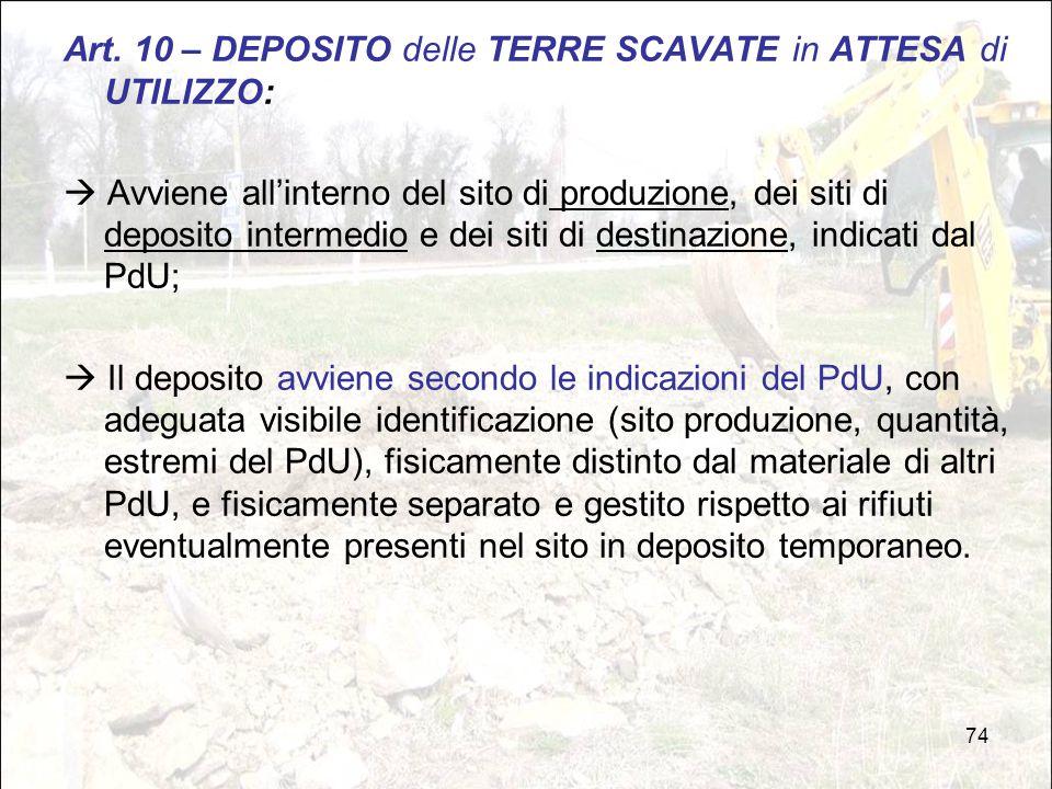 Art. 10 – DEPOSITO delle TERRE SCAVATE in ATTESA di UTILIZZO: