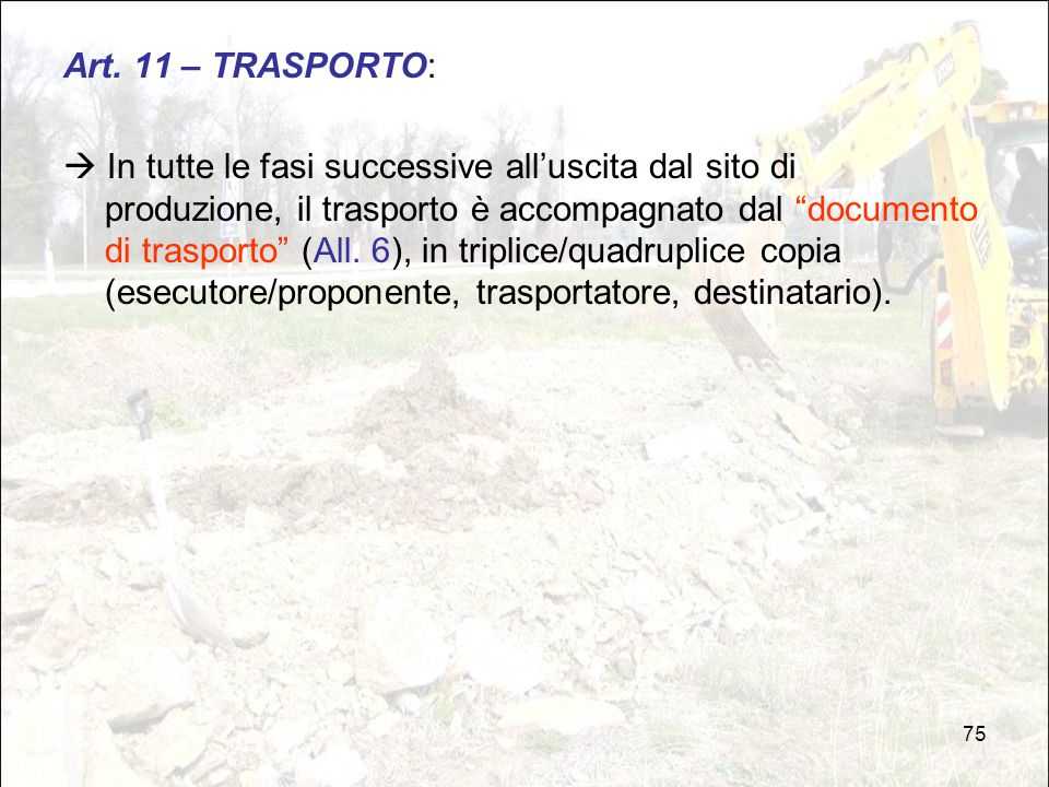Art. 11 – TRASPORTO: