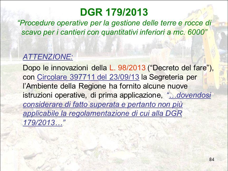 DGR 179/2013 Procedure operative per la gestione delle terre e rocce di scavo per i cantieri con quantitativi inferiori a mc. 6000
