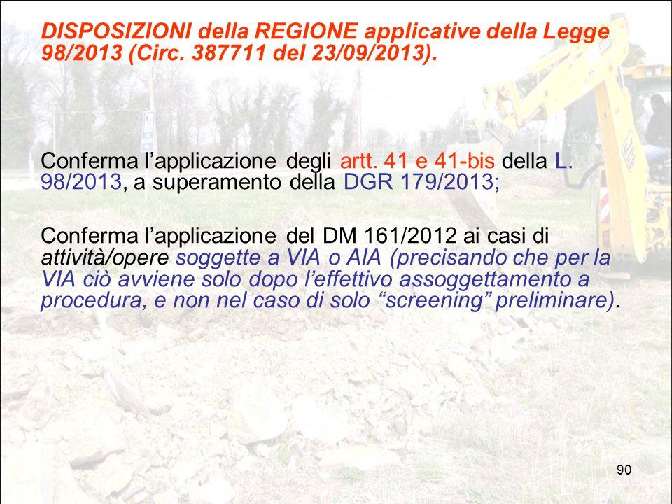 DISPOSIZIONI della REGIONE applicative della Legge 98/2013 (Circ