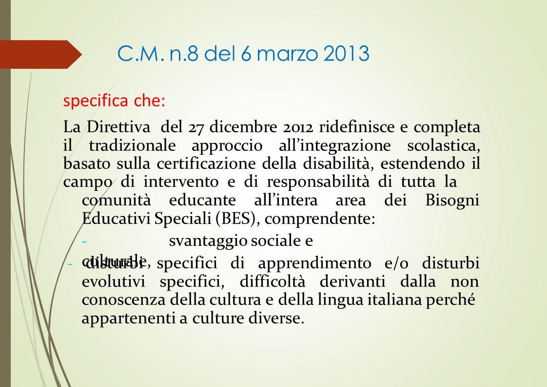 C.M. n.8 del 6 marzo 2013 specifica che: