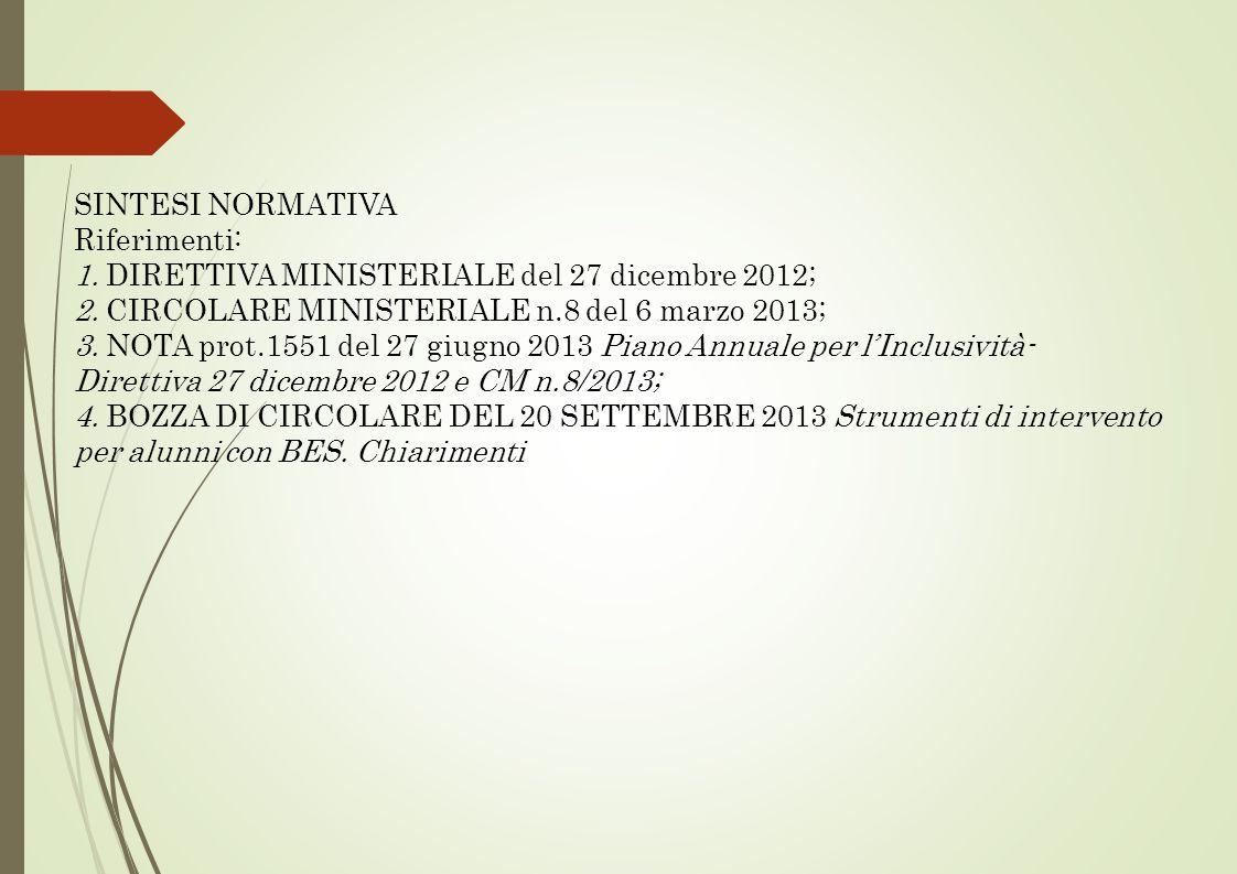SINTESI NORMATIVA Riferimenti: 1. DIRETTIVA MINISTERIALE del 27 dicembre 2012; 2. CIRCOLARE MINISTERIALE n.8 del 6 marzo 2013;