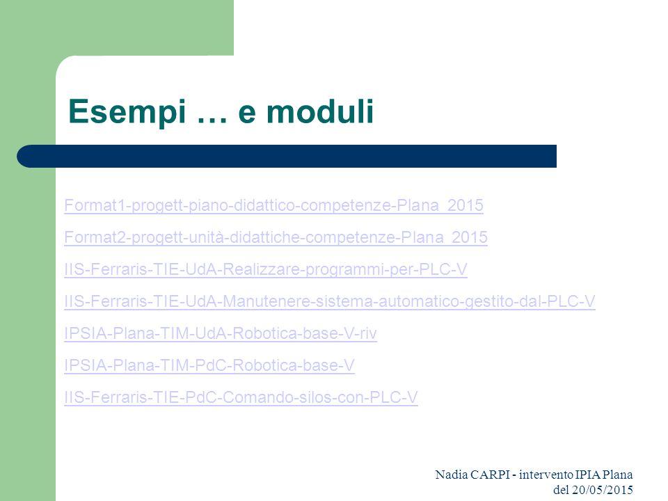 Esempi … e moduli Format1-progett-piano-didattico-competenze-Plana 2015. Format2-progett-unità-didattiche-competenze-Plana 2015.