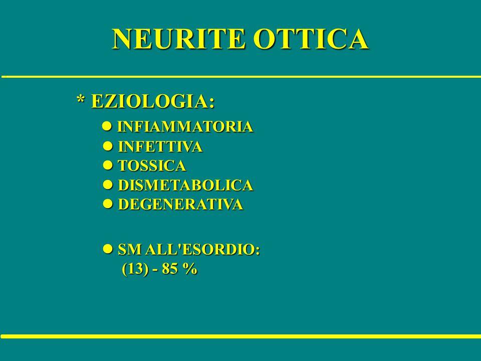 NEURITE OTTICA * EZIOLOGIA: l INFIAMMATORIA l INFETTIVA l TOSSICA