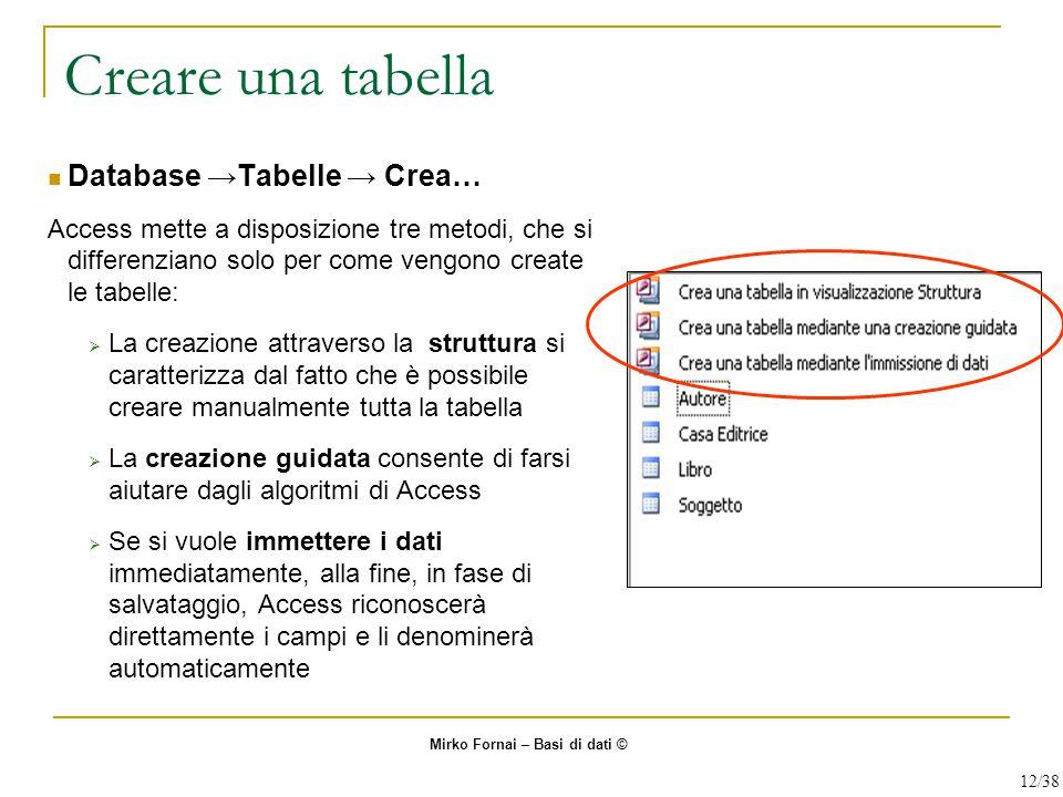 Creare una tabella Database →Tabelle → Crea…