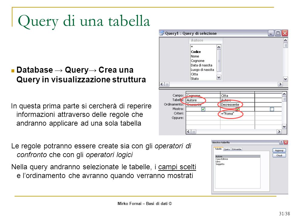 Query di una tabella Database → Query→ Crea una Query in visualizzazione struttura.
