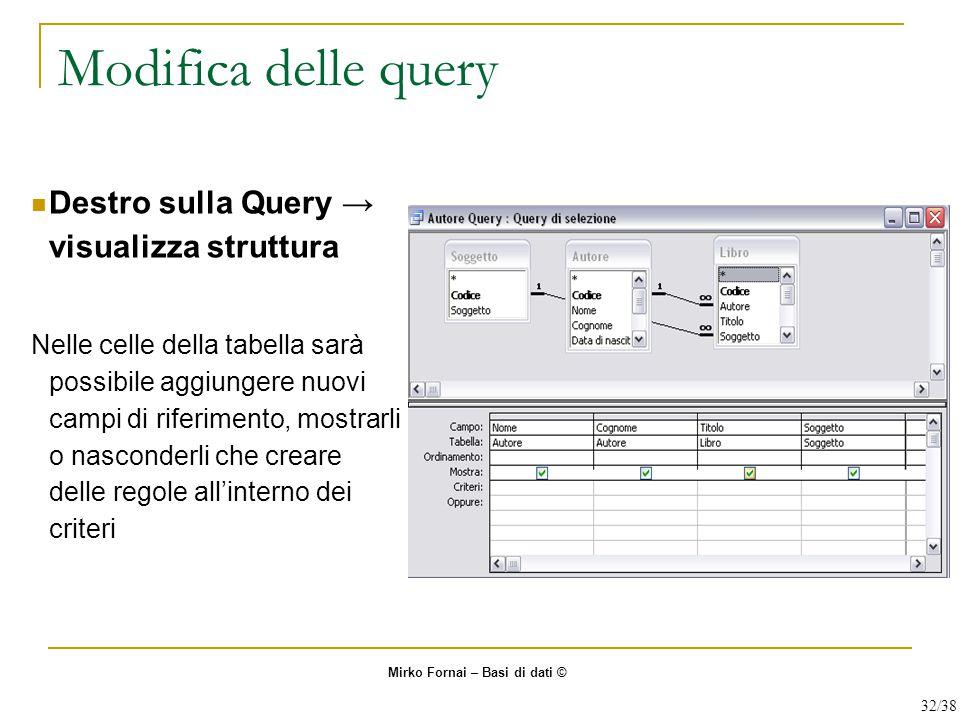 Modifica delle query Destro sulla Query → visualizza struttura