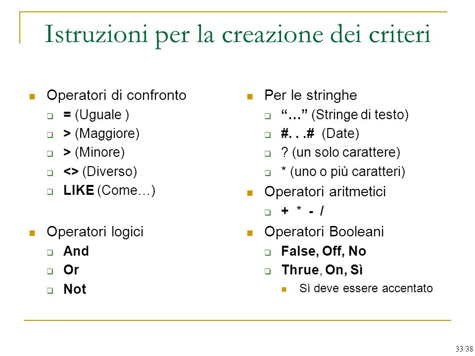 Istruzioni per la creazione dei criteri