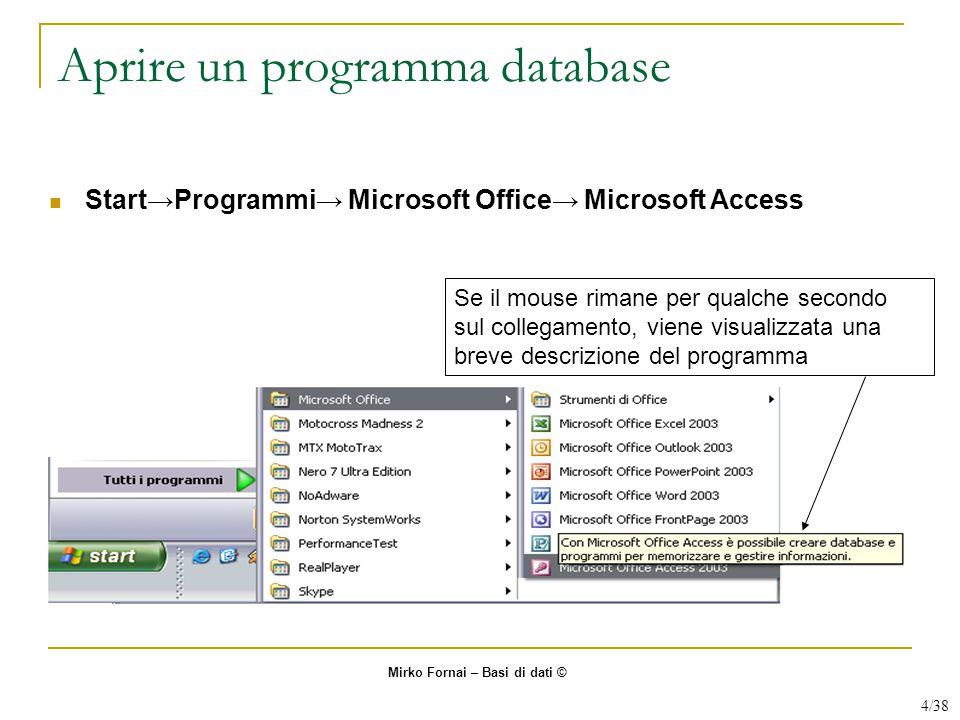 Aprire un programma database