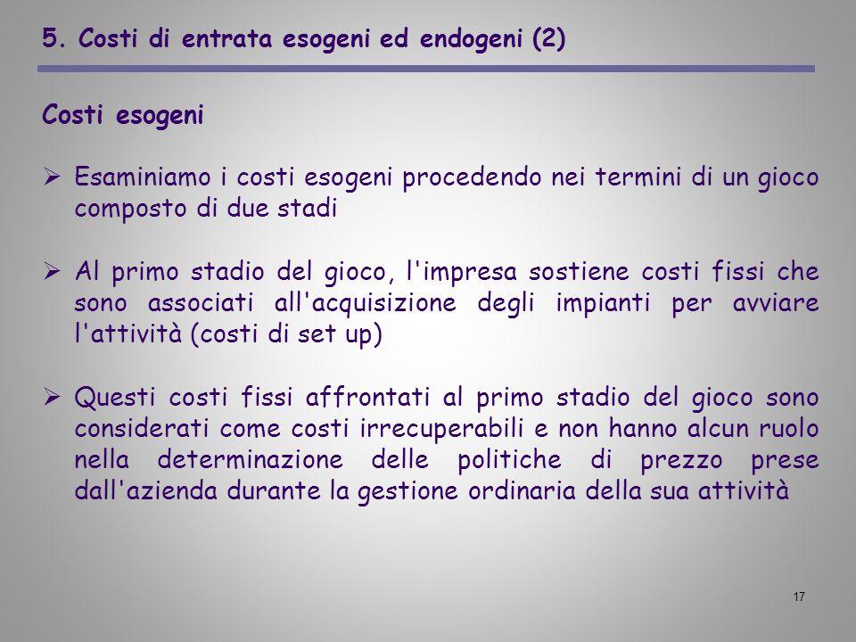 5. Costi di entrata esogeni ed endogeni (2)