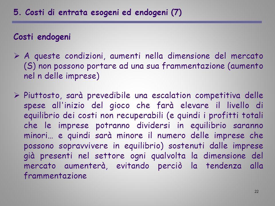 5. Costi di entrata esogeni ed endogeni (7)