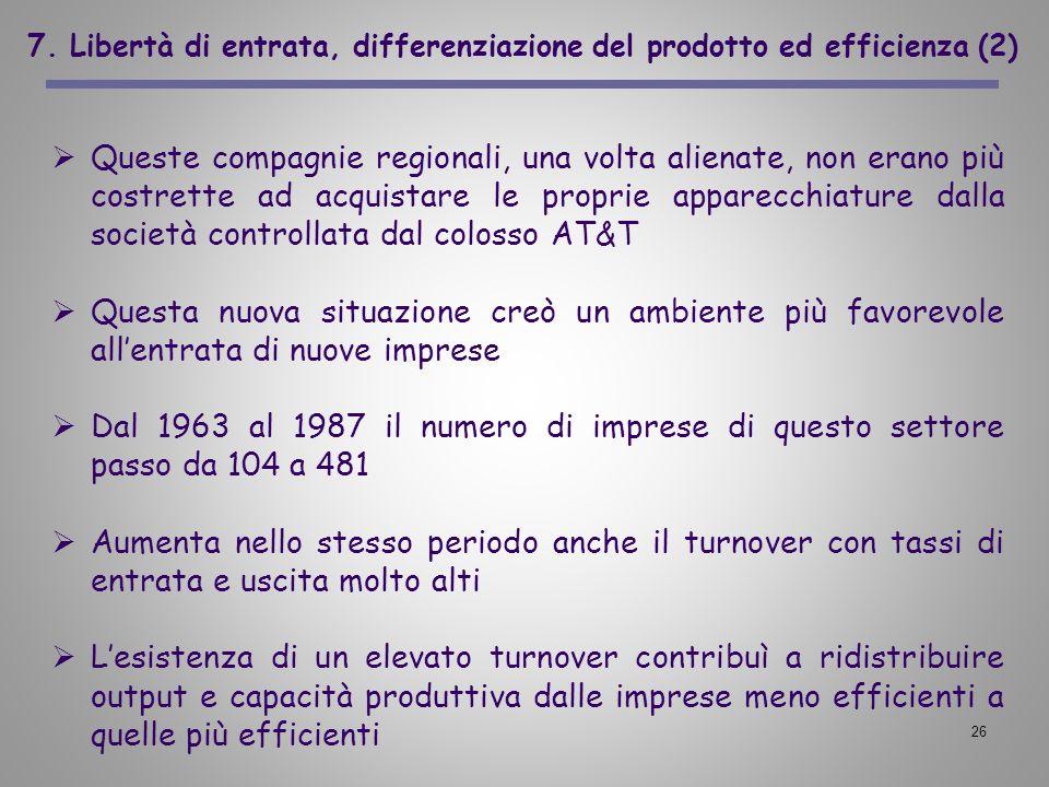 7. Libertà di entrata, differenziazione del prodotto ed efficienza (2)
