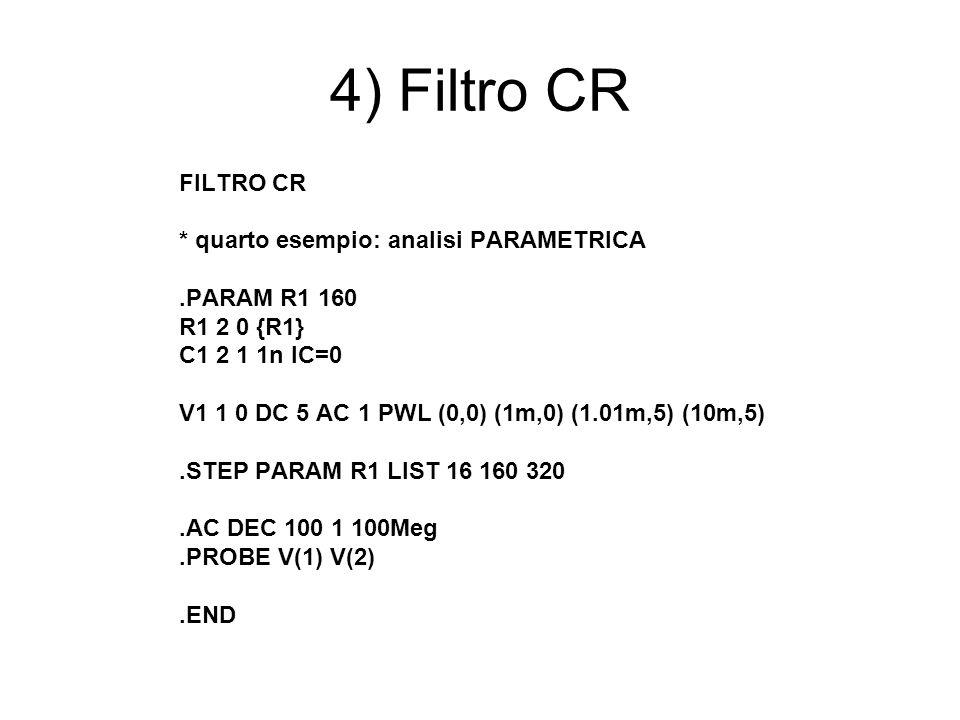 4) Filtro CR FILTRO CR * quarto esempio: analisi PARAMETRICA