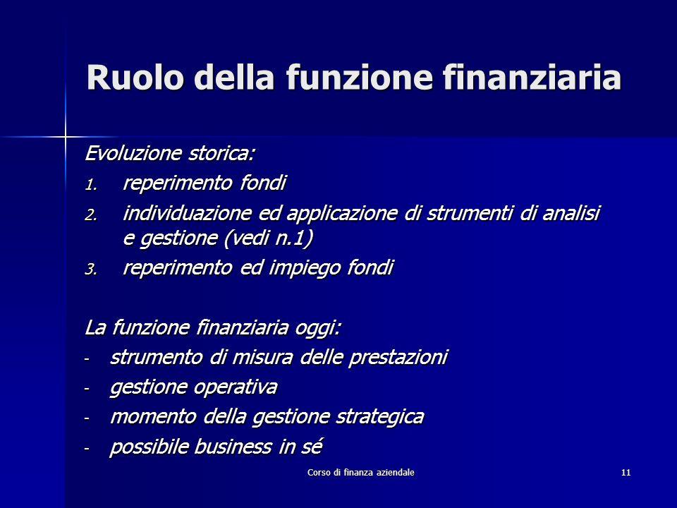 Ruolo della funzione finanziaria