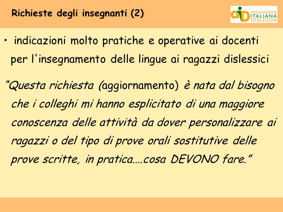 Richieste degli insegnanti (2)