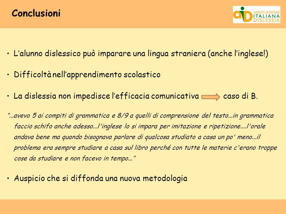 Conclusioni L'alunno dislessico può imparare una lingua straniera (anche l'inglese!) Difficoltà nell'apprendimento scolastico.