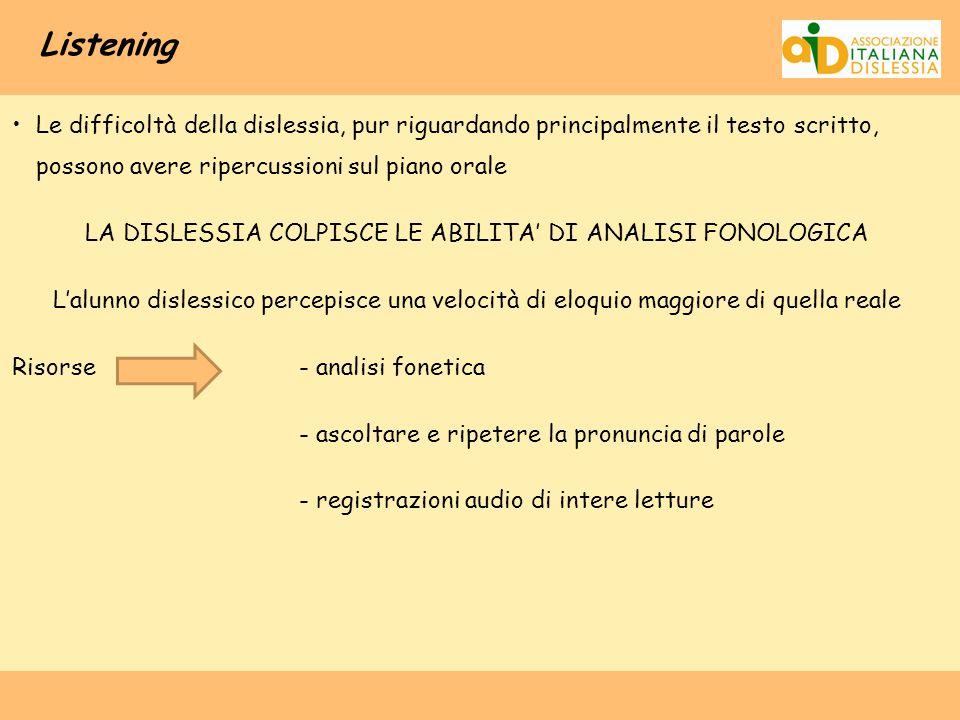 LA DISLESSIA COLPISCE LE ABILITA' DI ANALISI FONOLOGICA