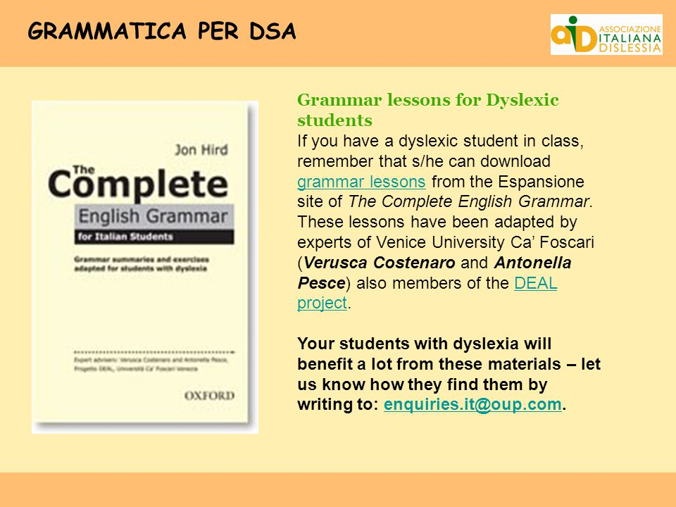 GRAMMATICA PER DSA Grammar lessons for Dyslexic students