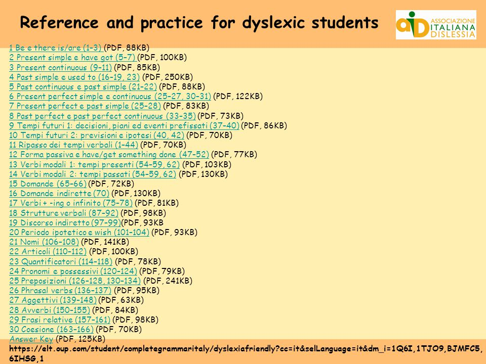 Reference and practice for dyslexic students