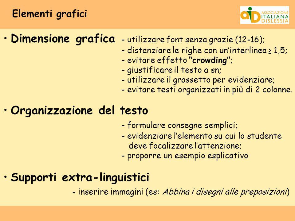 Dimensione grafica - utilizzare font senza grazie (12-16);