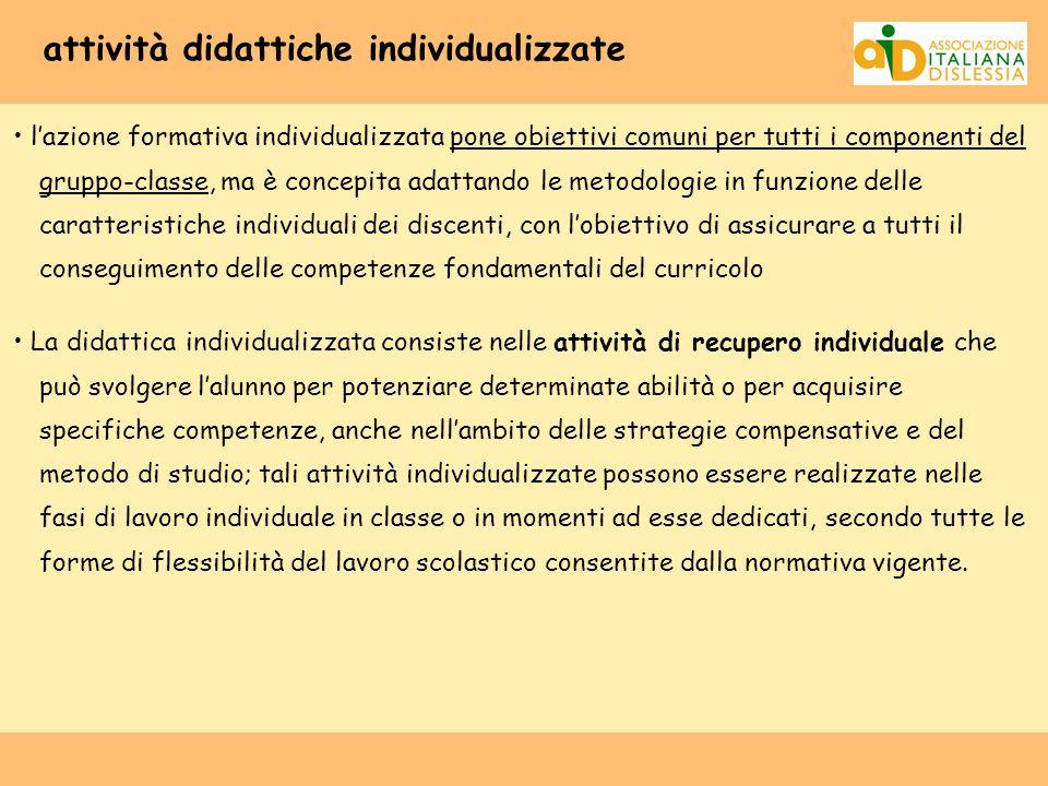 attività didattiche individualizzate